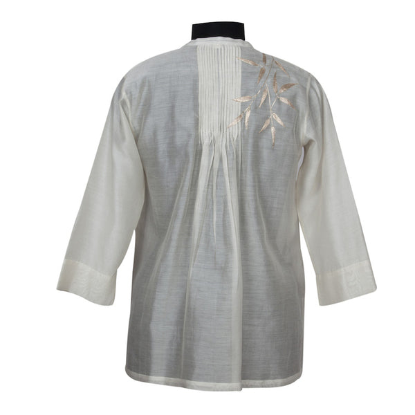 Fabulloso Cream and Gold Leaves Chanderi Top