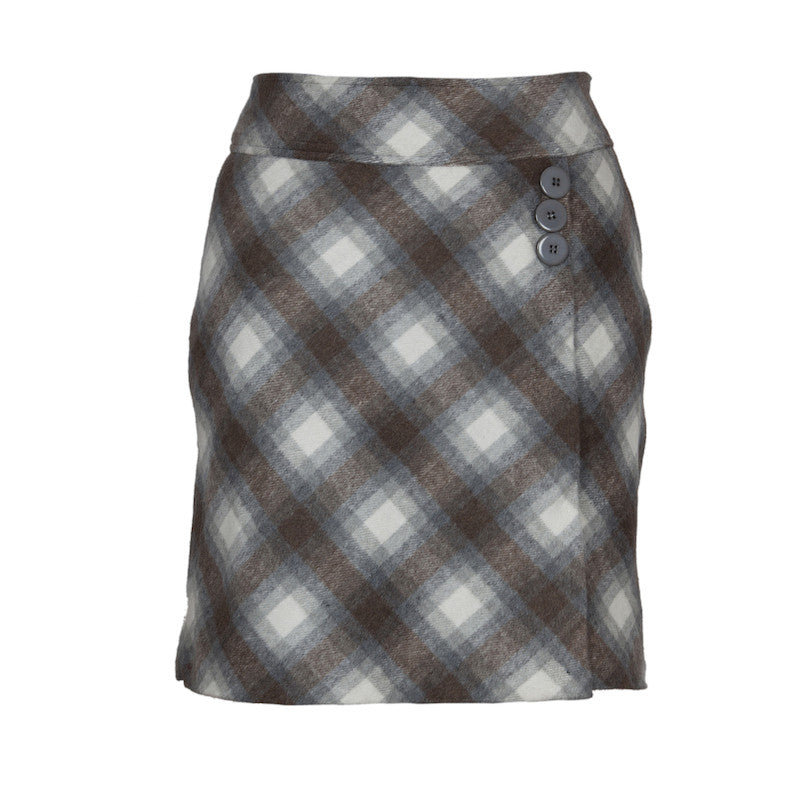 Fabulloso Brown and Grey Check Woollen Skirt