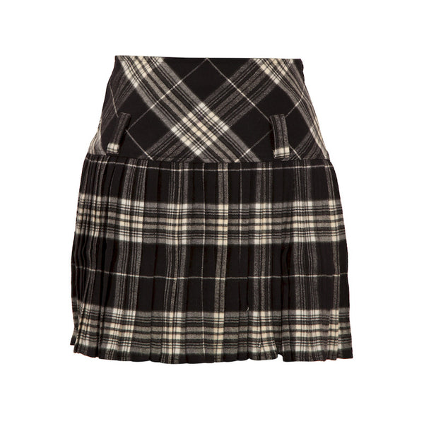 Fabulloso Scottish Black and White Wool Skirt