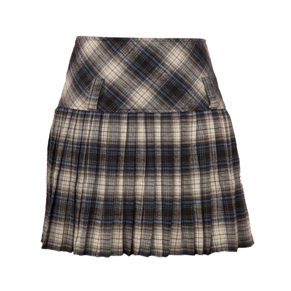 Fabulloso Scottish Wool Skirt Blue, Black & White