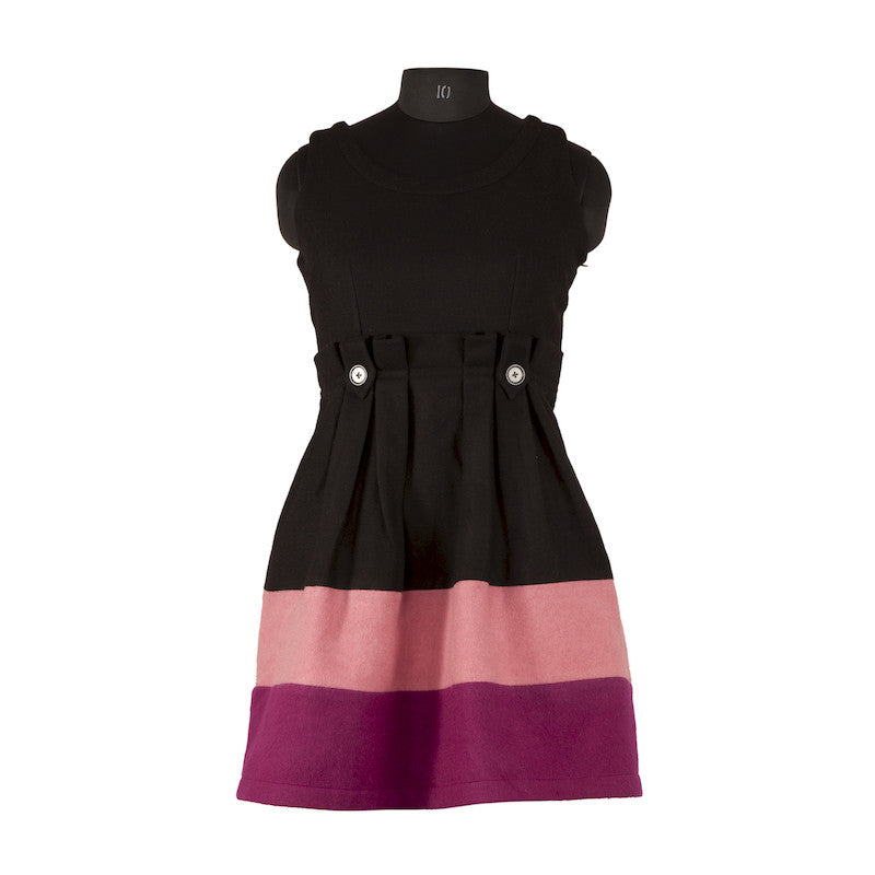 Fabulloso Black and Pink Flared Wool Dress