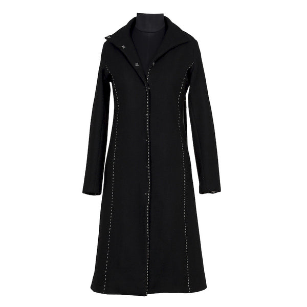 Fabulloso Black Stitchline Long Coat