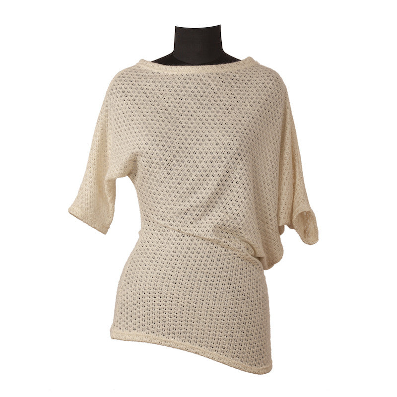 Fabulloso Ivory Knit Asymmetric Top
