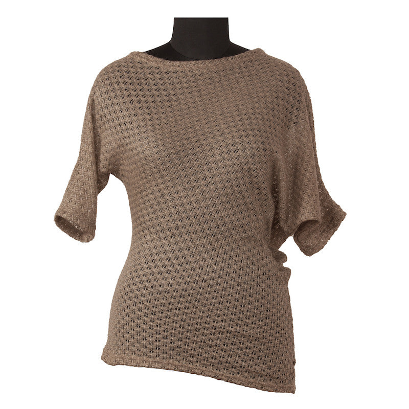 Fabulloso Taupe Knit Asymmetric Top