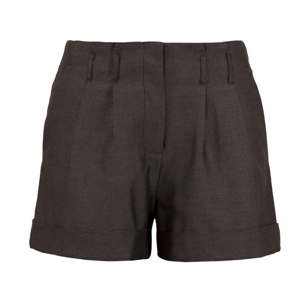 Fabulloso Pleated Grey Wool Shorts