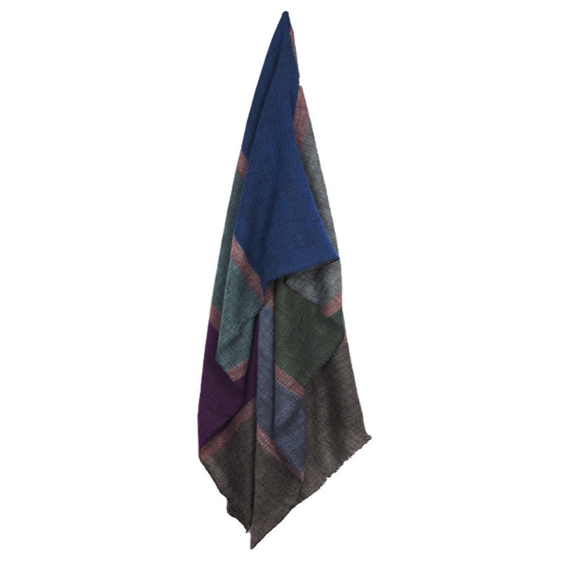 Fabulloso Colour Block Pashmina Stole Grey Border