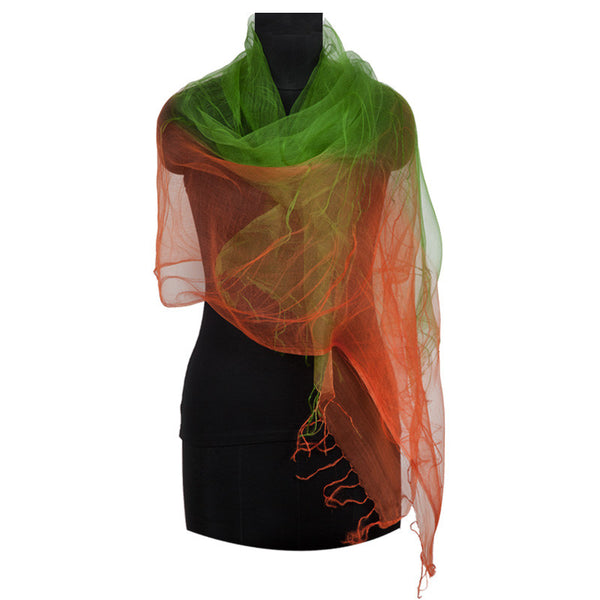 Ombre silk stole Green orange