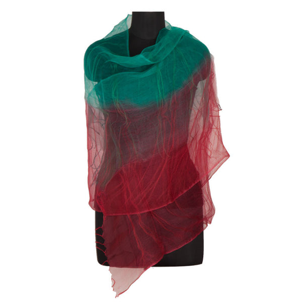 Ombre silk stole Teal and Maroon