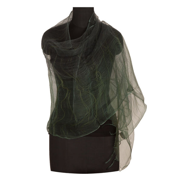 Ombre silk stole Green and Grey