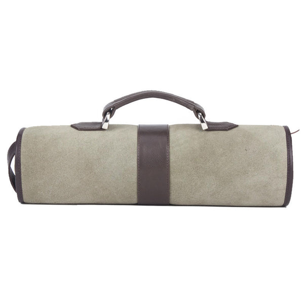 Fabulloso Newspaper Leather Roll Up Bag Moss Green