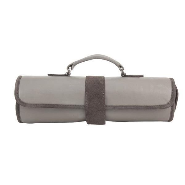 Fabulloso Newspaper Leather Roll Up Bag Grey
