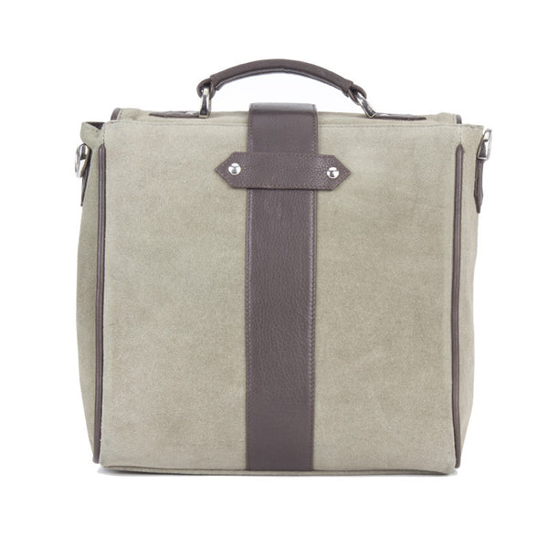 Fabulloso Leather Bag Moss Green with Rolled Flap