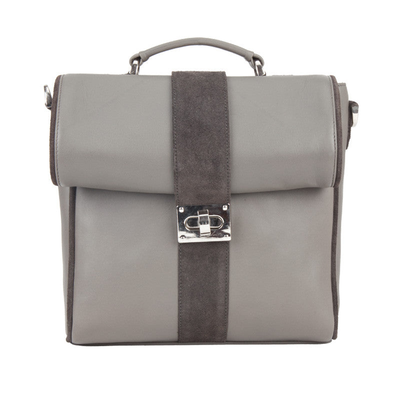 Fabulloso Leather Bag Grey with Rolled Flap