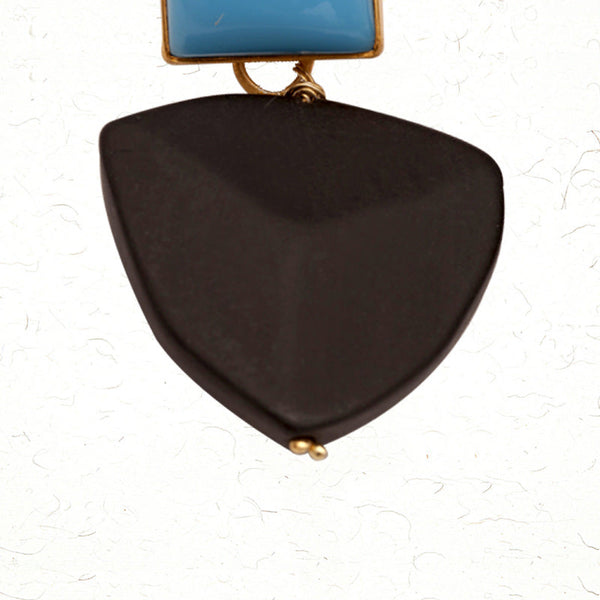 Blue on black earrings