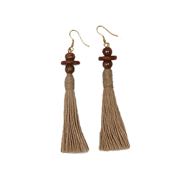 Fabulloso Jute and Wooden Beads Earrings