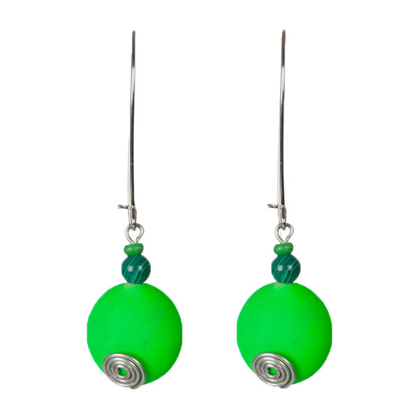 Dip in colours earrings Green