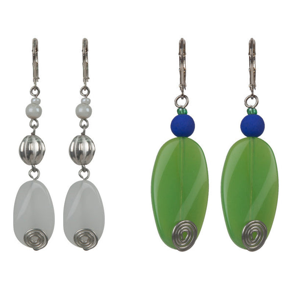 Glass glow earrings set White & Green