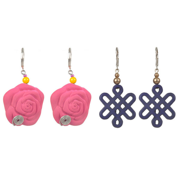 Mismatch earrings set Pink & Blue