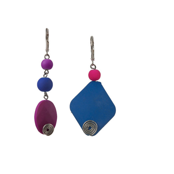 Bold moves earrings set Purple & Blue