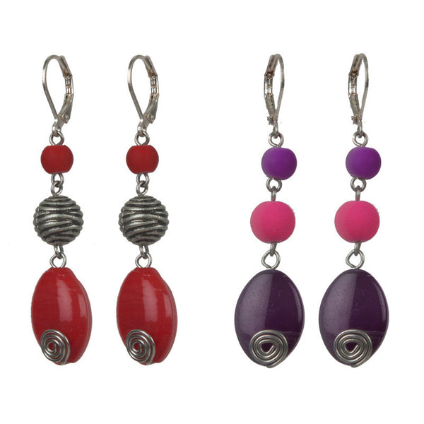 Pebble street earrings set Purple & Red