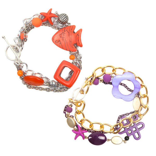 Charmis bracelet set Orange & Purple
