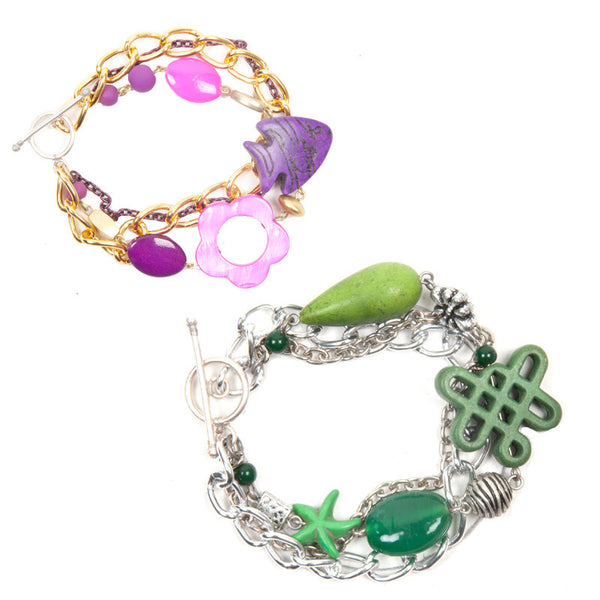Charmis bracelet set Green & Purple
