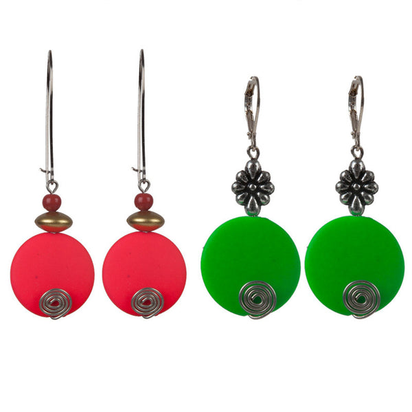 Holi earrings set Orange & Green