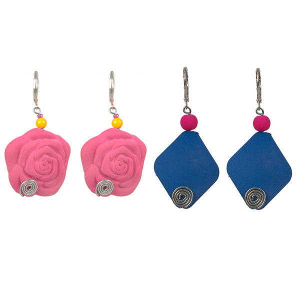 Holi earrings set Pink & Blue