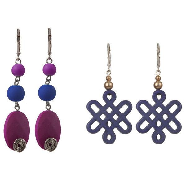 Slovak earrings set Purple & Blue