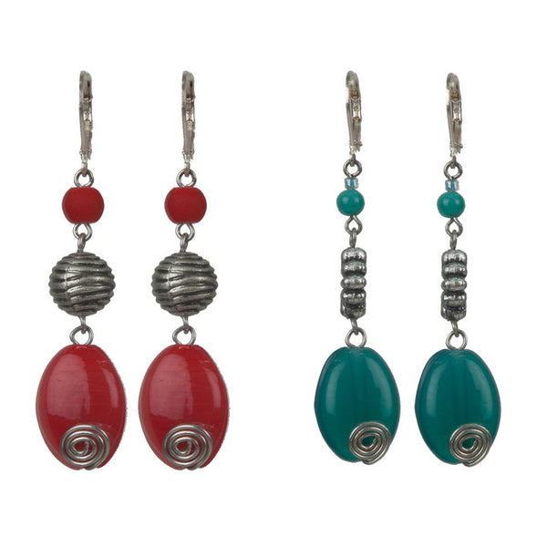 Opulence earrings set Red & Green