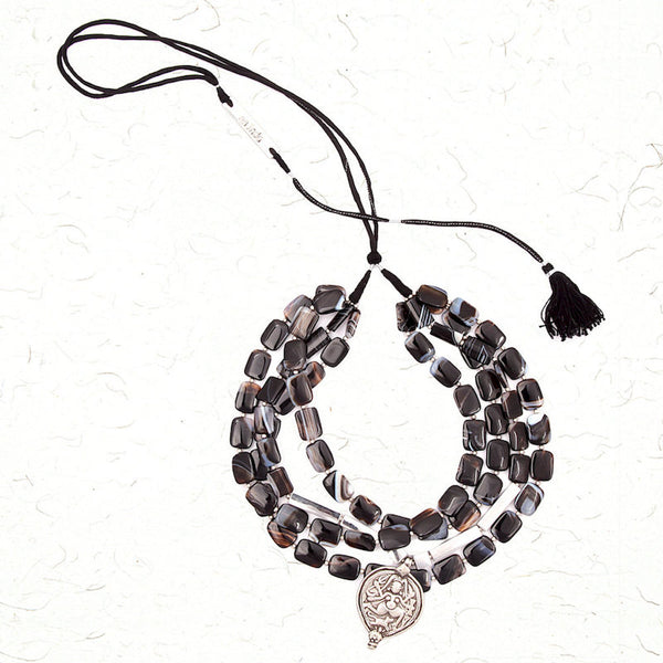 Ebony and silver necklace