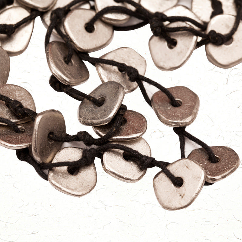 Fabulloso Silver Metallic Buttons Necklace
