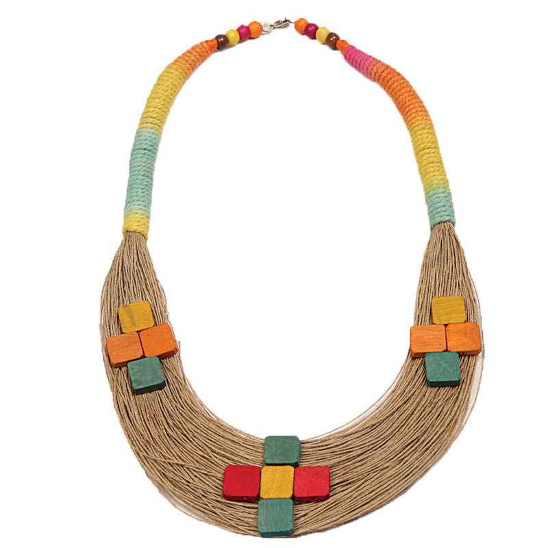 Fabulloso Multicolour Jute and Wooden Square Necklace