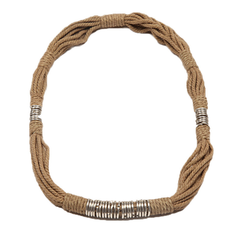 Fabulloso Jute and Chrome Necklace