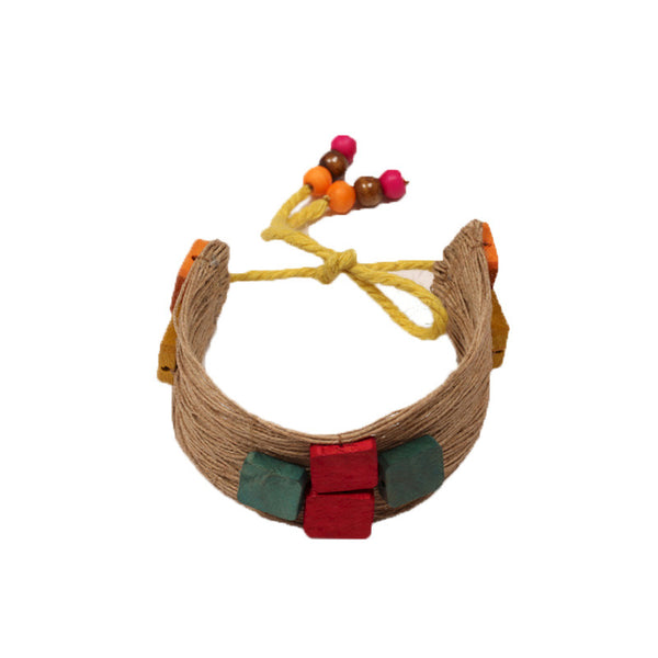 Fabulloso Jute and Wooden Square Bracelet