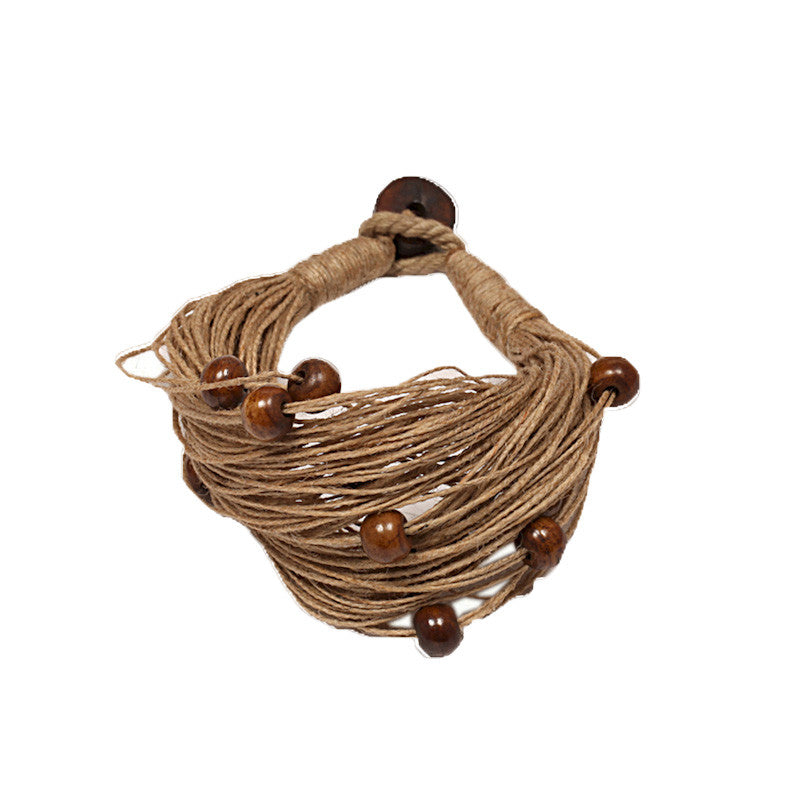 Fabulloso Jute and Wooden Beads Bracelet