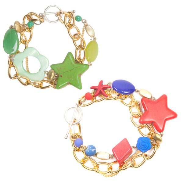 Charmis bracelet set Green & Red