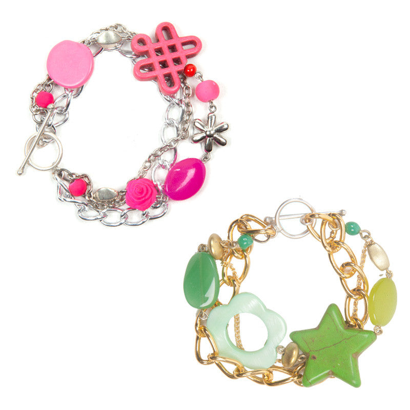 Enchanted bracelet Green & Pink