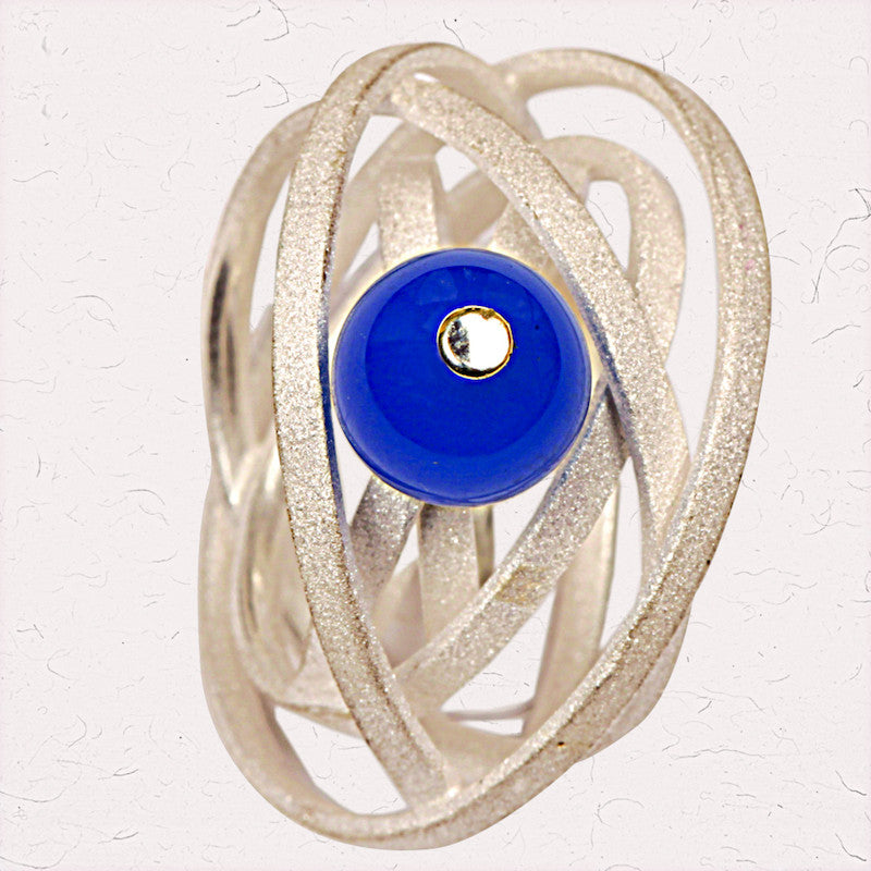 Silver orbits ring Blue