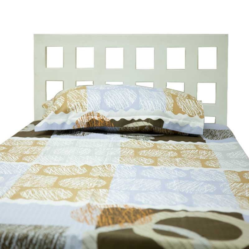 Fabulloso Blue and Beige Single Bed Sheet & Pillow Cover Set