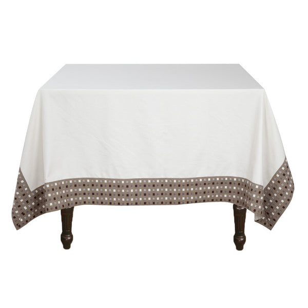 Fabulloso White & Beige Table Cover