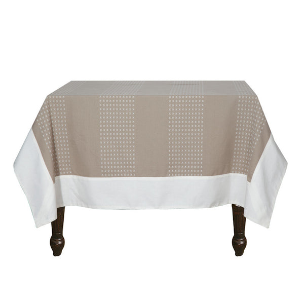 Fabulloso Beige and White Table Cover