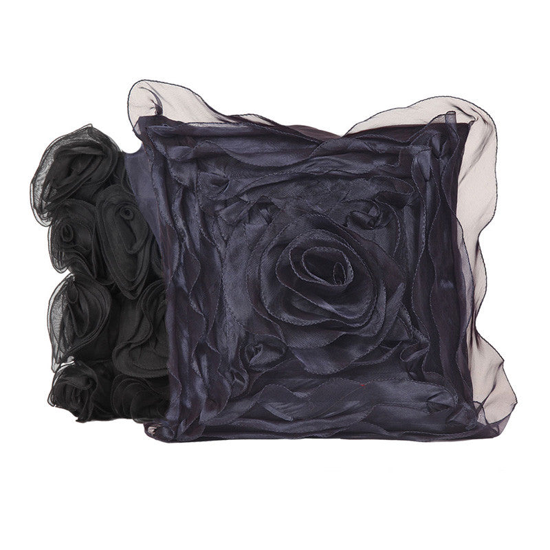 Fabulloso Ruffled Navy Blue Cushion Cover
