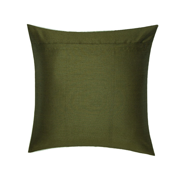 Fabulloso White, Grey, Green Silk Pleats Cushion Cover