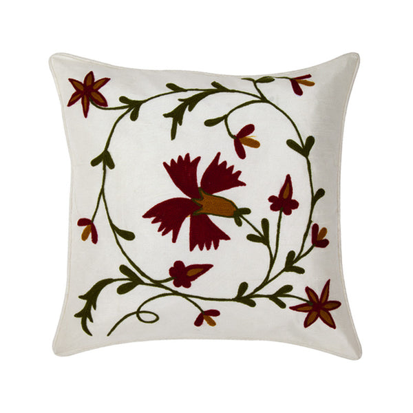 Fabulloso Embroidered Floral Red and White Cushion Cover