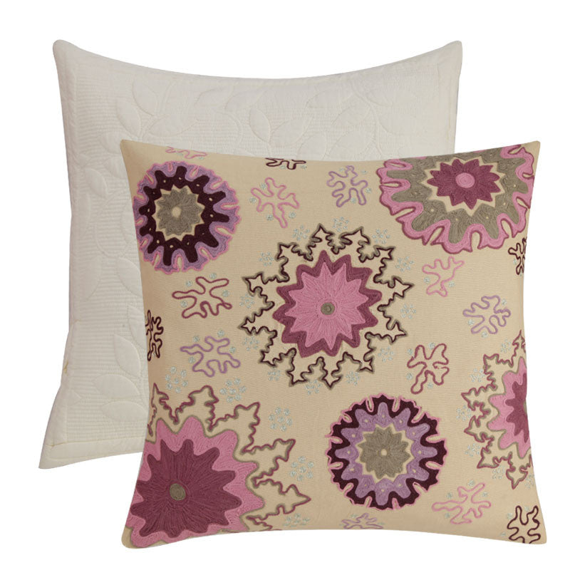 Fabulloso Linen Embroidered Cream Cushion Cover