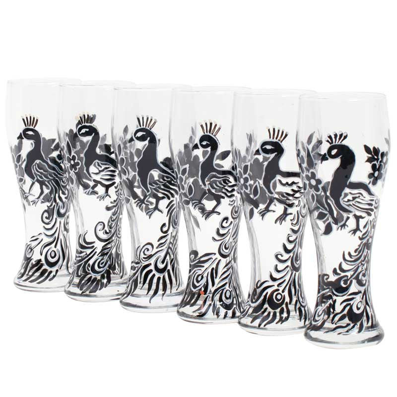 Strut peacock beer glass set