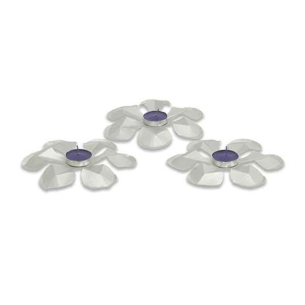 Silver gota tea light holder set of 3