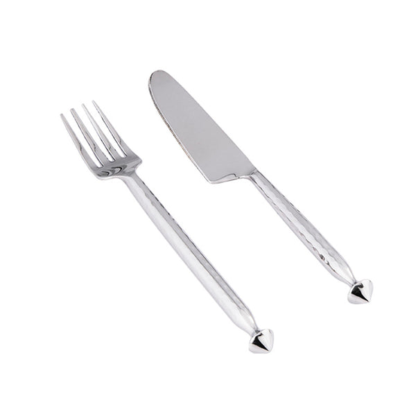 Hammered Stainless Steel Cutlery - 24 Pcs