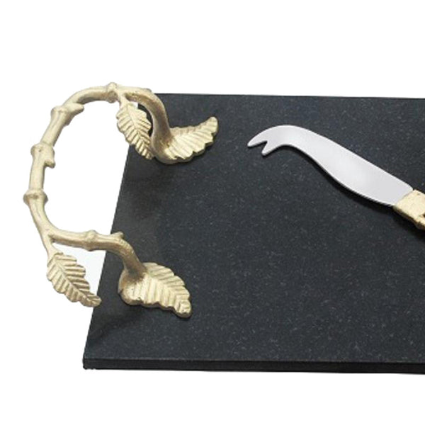 Bamboo Granite And Brass Cheese Platter & Knife
